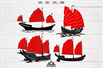 Chinese Traditional Ship Junk Boat Svg Design