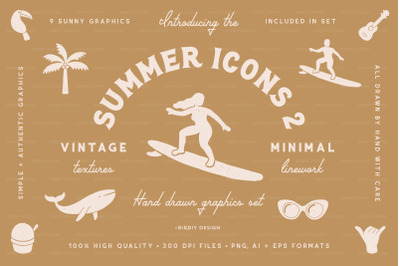 Summer Icons 2 Hand Drawn Graphics