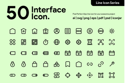 50 Interface Essential Icon Line