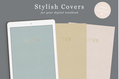 Digital Notebook Cover in 6 colours | Goodnotes Covers | Gold and Rose