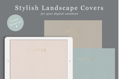 Digital Notebook Cover in 6 colours | Landscape Goodnotes Covers | Gol