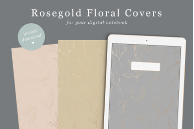 Floral Digital Notebook Cover Rose gold Foil 6 colours | Goodnotes Cov