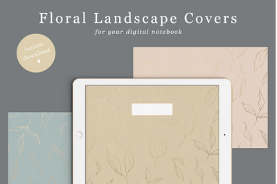 Floral Digital Notebook Cover in 6 colours | Landscape Goodnotes Cover