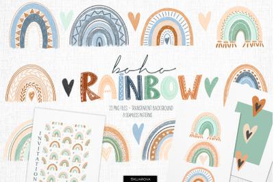 Boho rainbow clipart