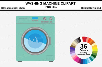 Washing Machine Sticker Clipart, 36 files, multi colours
