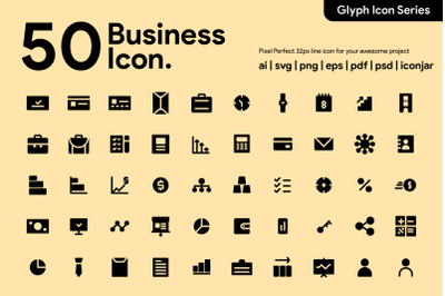 50 Business Icon Glyph