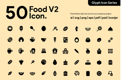 50 Food Icon Glyph