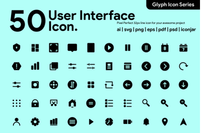 50 User Interface Icon Glyph