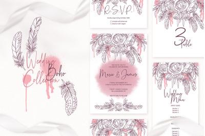 Boho Wedding Invitation Template Floral Printable Wedding Invitation C