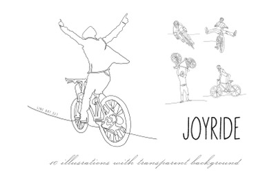 Bicycles illustrations. Line art.
