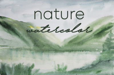 watercolor landscape of the mountain