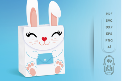 Box SVG File - Bunny Box SVG Template, Easter SVG, Gift Box