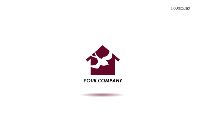 Logo with a bird and a house
