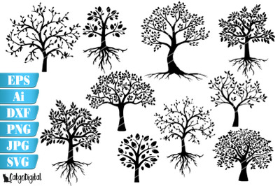 Tree Silhouettes SVG EPS Ai PNG DXF JPEG