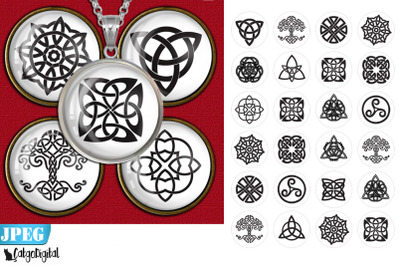 Celtic Knots Circle Printable images Digital Collage Sheet