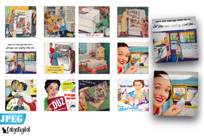 1950s Ads Housewifes 2.5x2.5 inch Scrapbooking printables