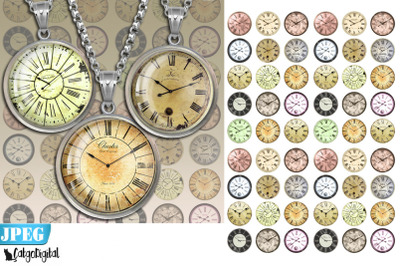 Clock Faces Steampunk Digital collage sheet