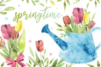 springtime watercolor set