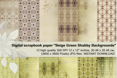 Beige-Green shabby backgrounds, Printable Scrapbook Paper.