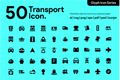 50 Transportation Icon Glyph