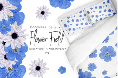 Spring set Flower field Seamless pattern and seamless border