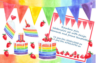 Rainbow pies. Watercolor set with card design elements and frame templ