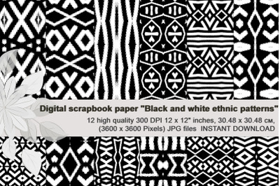 Black-White, aztec ethnic patterns, Digital Scrapbook Paper