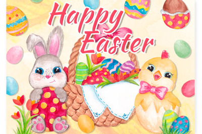 Easter clipart Watercolor Easter bunny and Chick graphics