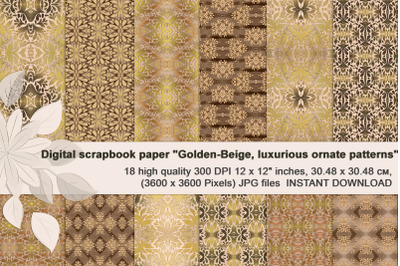 Golden-Beige, Luxurious, Ornate, Seamless Digital Paper.