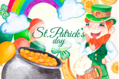 St Patrick's day clipart Watercolor graphics