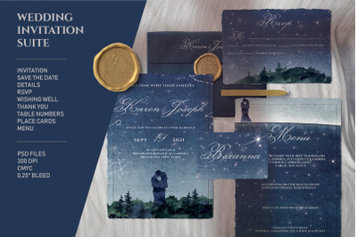 Night Sky Wedding Invitation Suite
