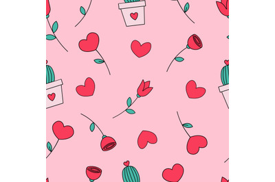 Valentine's day seamless repeat pattern.Flowers and plants pattern.