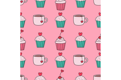 Cupcakes and tea cups seamless pattern Valentine's day pattern.