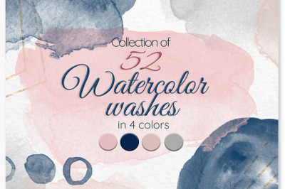 Watercolor stains Blush pink Navy blue Beige Grey washes