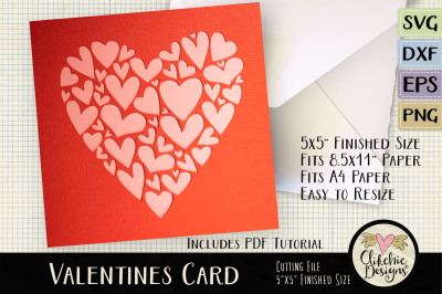 Valentine Hearts SVG Card Cutting File