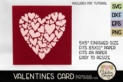 Valentine Hearts SVG Card Cutting File