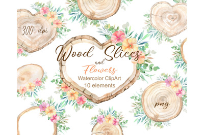 Watercolor Wood Slice Clipart Rustic Floral spring Sign Slices Clip Ar