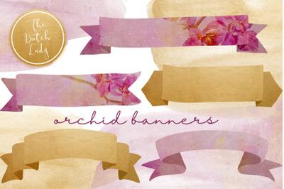 Orchid Banner Clipart Set