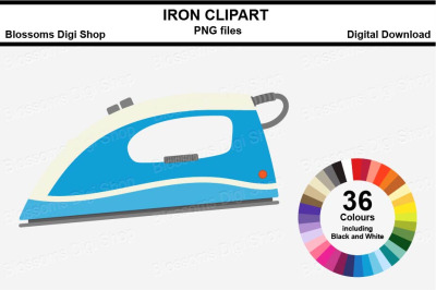 Iron Sticker Clipart, 36 files, multi colours