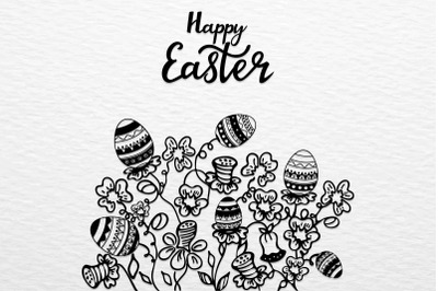 Happy Easter. Wreath with flowers, herbs and eggs. SVG Cut