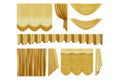 Golden stage curtains. Realistic interior luxury gold velvet curtains,