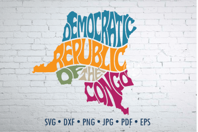 Democratic Republic of the Congo Word Art, Svg Dxf Eps Png