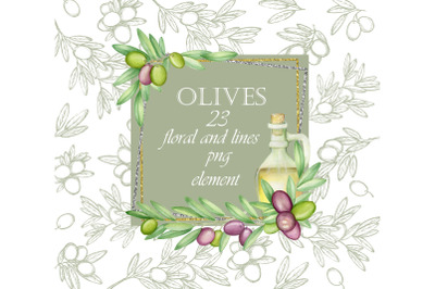 Olives Floral Elements. Watercolor clipart, branches, leaves, twigs, g