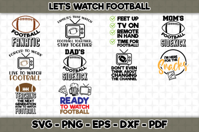 Let's Watch Football Bundle SVG Cut Files