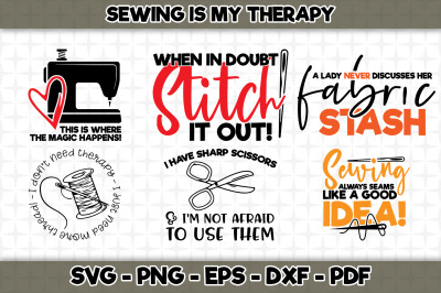 Sewing is my therapy BUNDLE SVG Cut Files