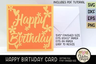 Floral Happy Birthday Card SVG Cutting File