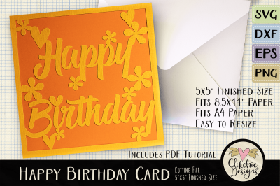 Floral Happy Birthday Card SVG Cutting File