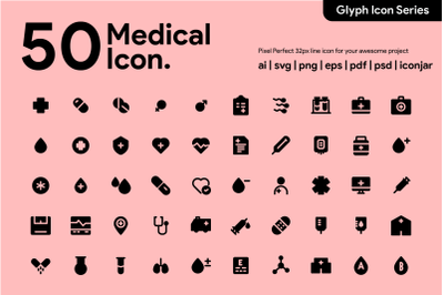 50 Medical Icon Glyph