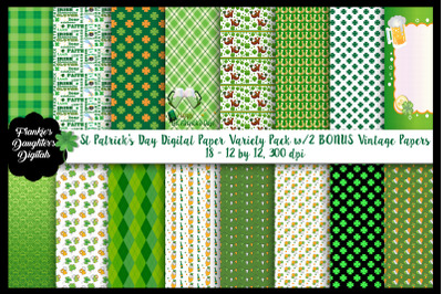 St Patrick's Day Variety Digital Paper Pack