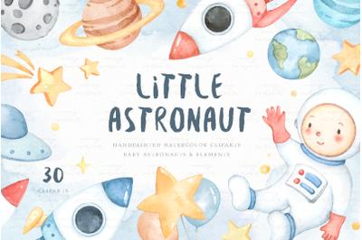 Little Astronaut Watercolor Clip Arts